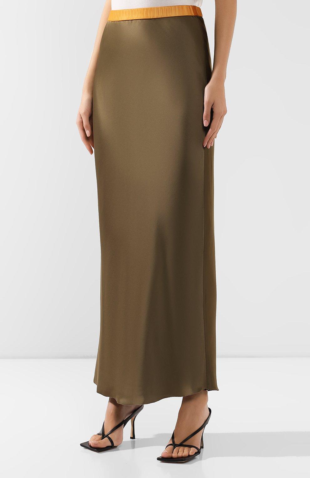 Женская юбка из вискозы HELMUT LANG хаки цвета, арт. J05HW304 | Фото 3