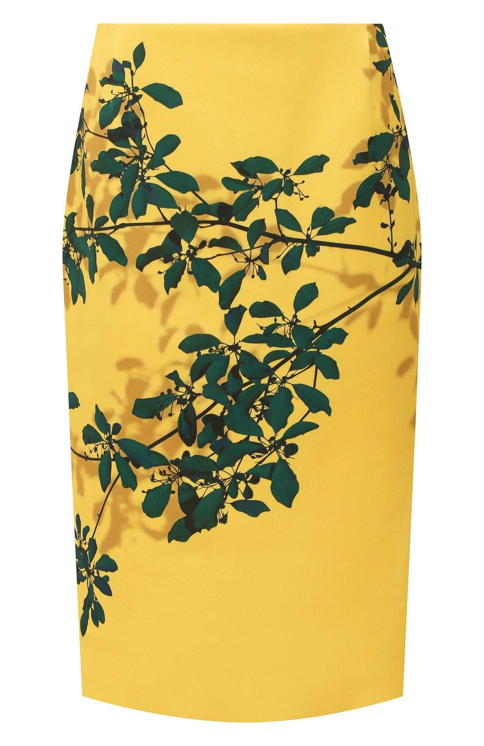Женская юбка с принтом DRIES VAN NOTEN желтого цвета, арт. 192-30824-8410   Фото 1