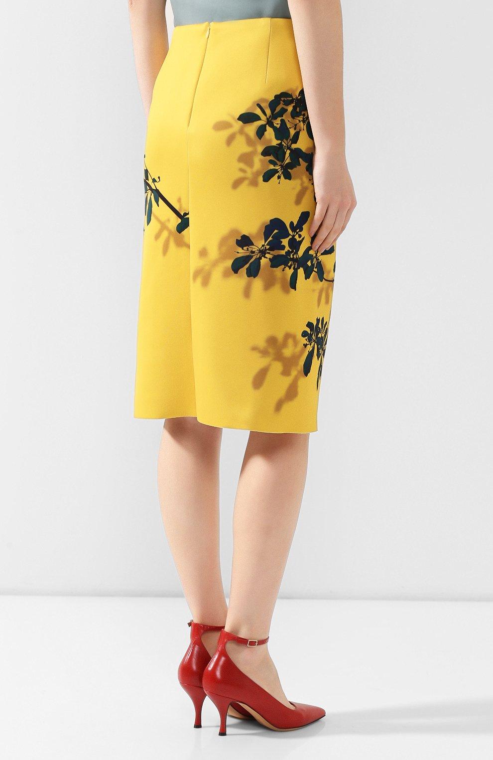 Женская юбка с принтом DRIES VAN NOTEN желтого цвета, арт. 192-30824-8410   Фото 4