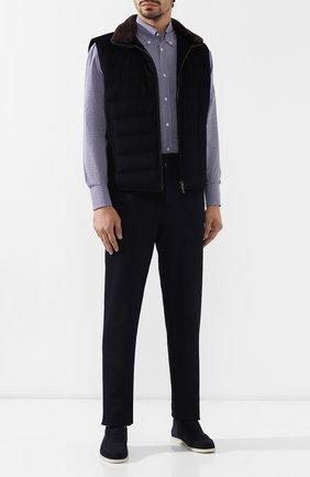Мужская хлопковая сорочка BRUNELLO CUCINELLI фиолетового цвета, арт. MN6450038 | Фото 2
