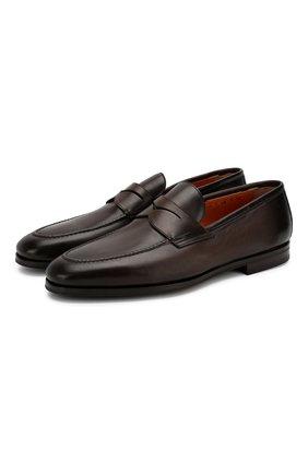 Мужские кожаные лоферы SANTONI темно-коричневого цвета, арт. MCNC15609SI1ESKTT50   Фото 1