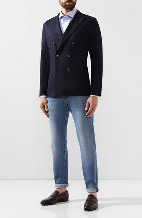 Мужские кожаные лоферы SANTONI темно-коричневого цвета, арт. MCNC15609SI1ESKTT50   Фото 2