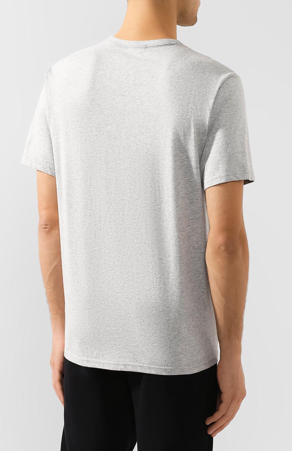 Мужская хлопковая футболка CALVIN KLEIN серого цвета, арт. NM1656E | Фото 4