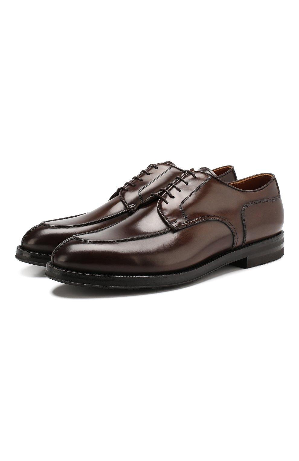 Мужские кожаные дерби W.GIBBS темно-коричневого цвета, арт. 0639010/0149   Фото 1