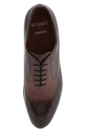 Мужские кожаные оксфорды W.GIBBS темно-коричневого цвета, арт. 2552059/0216 | Фото 5