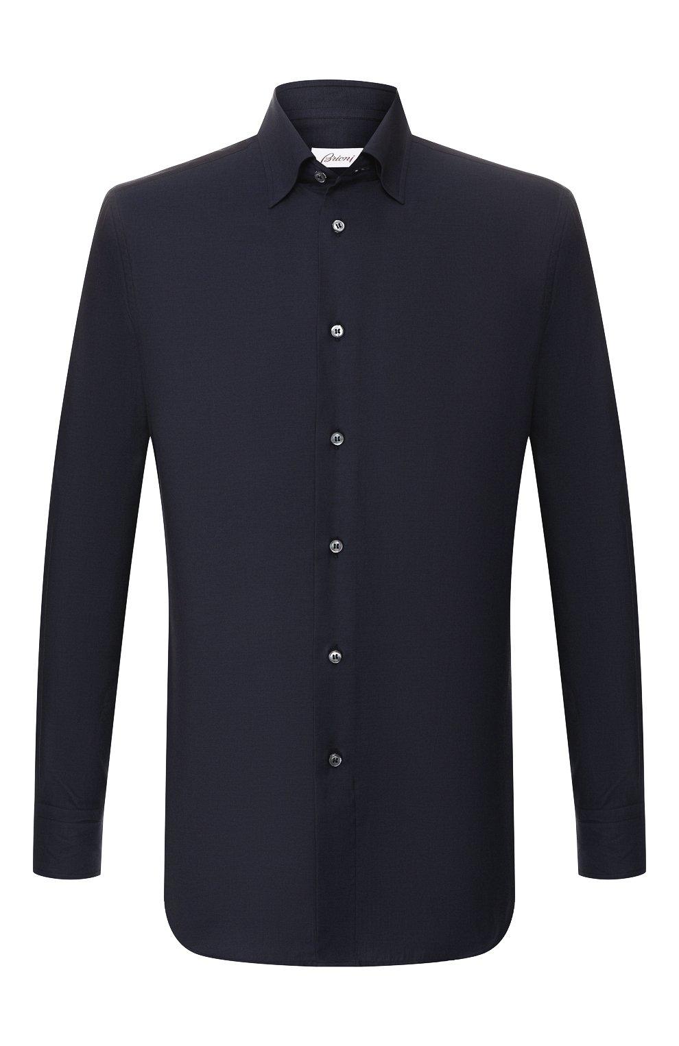 Мужская сорочка из смеси хлопка и кашемира BRIONI темно-синего цвета, арт. SCCA0L/0602I | Фото 1