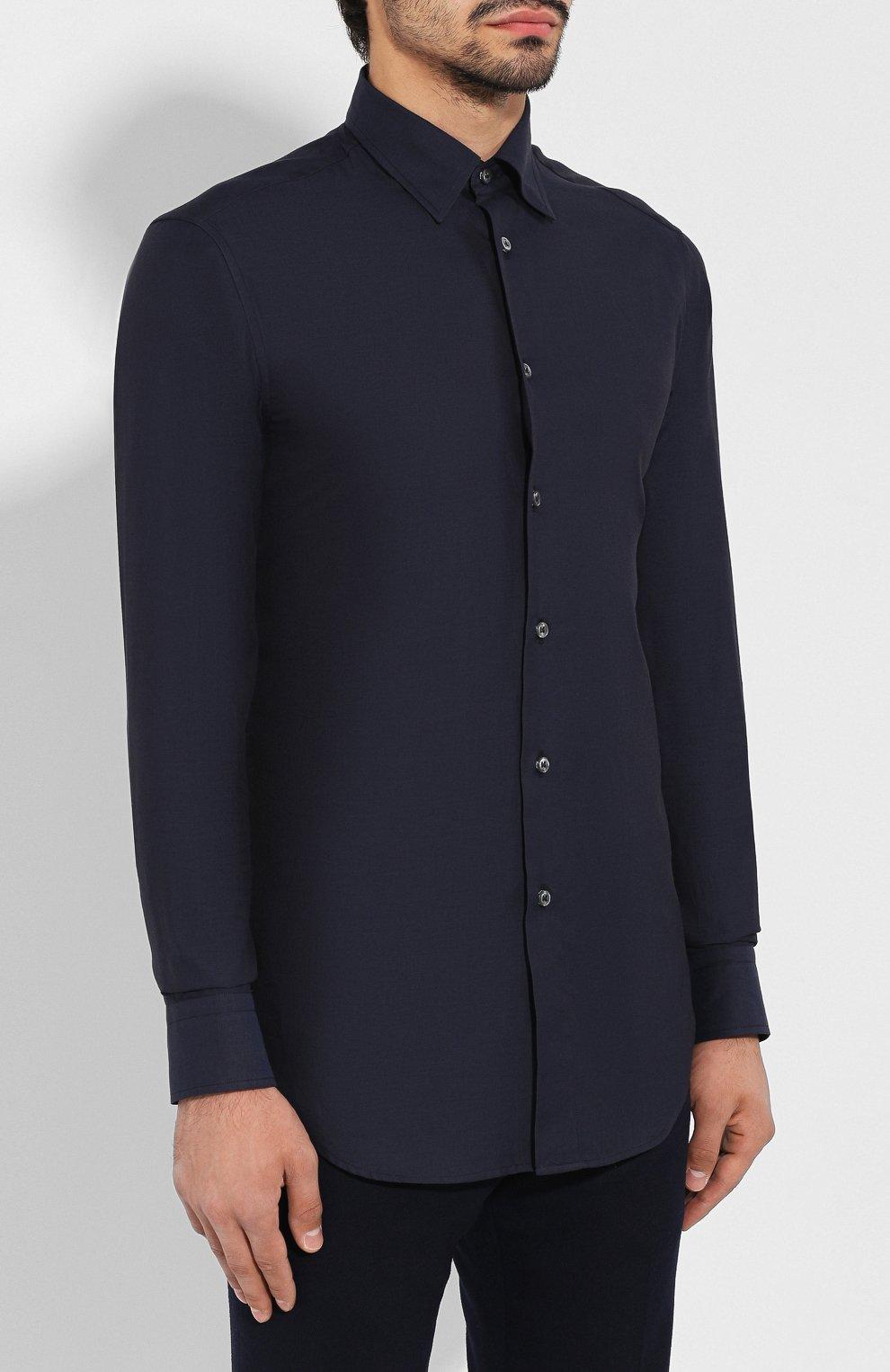 Мужская сорочка из смеси хлопка и кашемира BRIONI темно-синего цвета, арт. SCCA0L/0602I | Фото 3