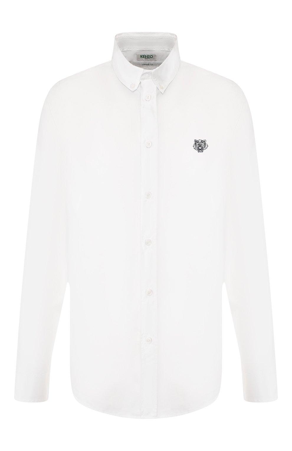 Мужская хлопковая рубашка KENZO белого цвета, арт. F965CH4001LA | Фото 1