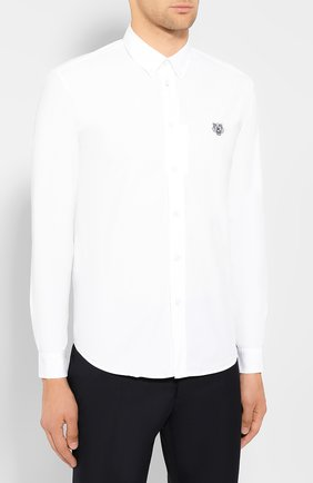 Мужская хлопковая рубашка KENZO белого цвета, арт. F965CH4001LA | Фото 3