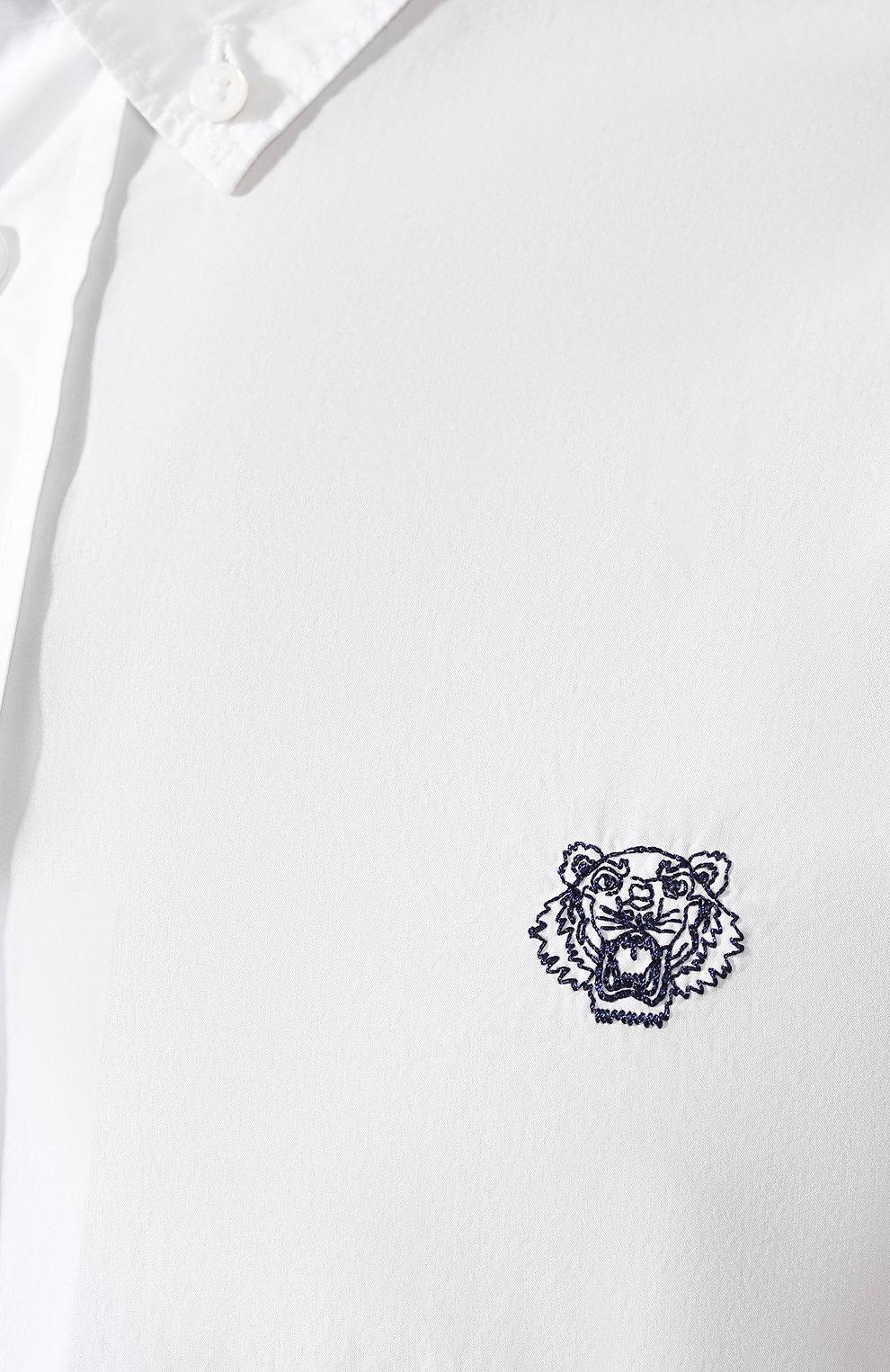 Мужская хлопковая рубашка KENZO белого цвета, арт. F965CH4001LA | Фото 5