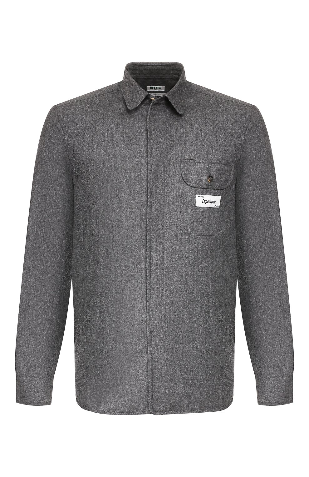 Мужская шерстяная рубашка KENZO серого цвета, арт. F965CH8481RE | Фото 1