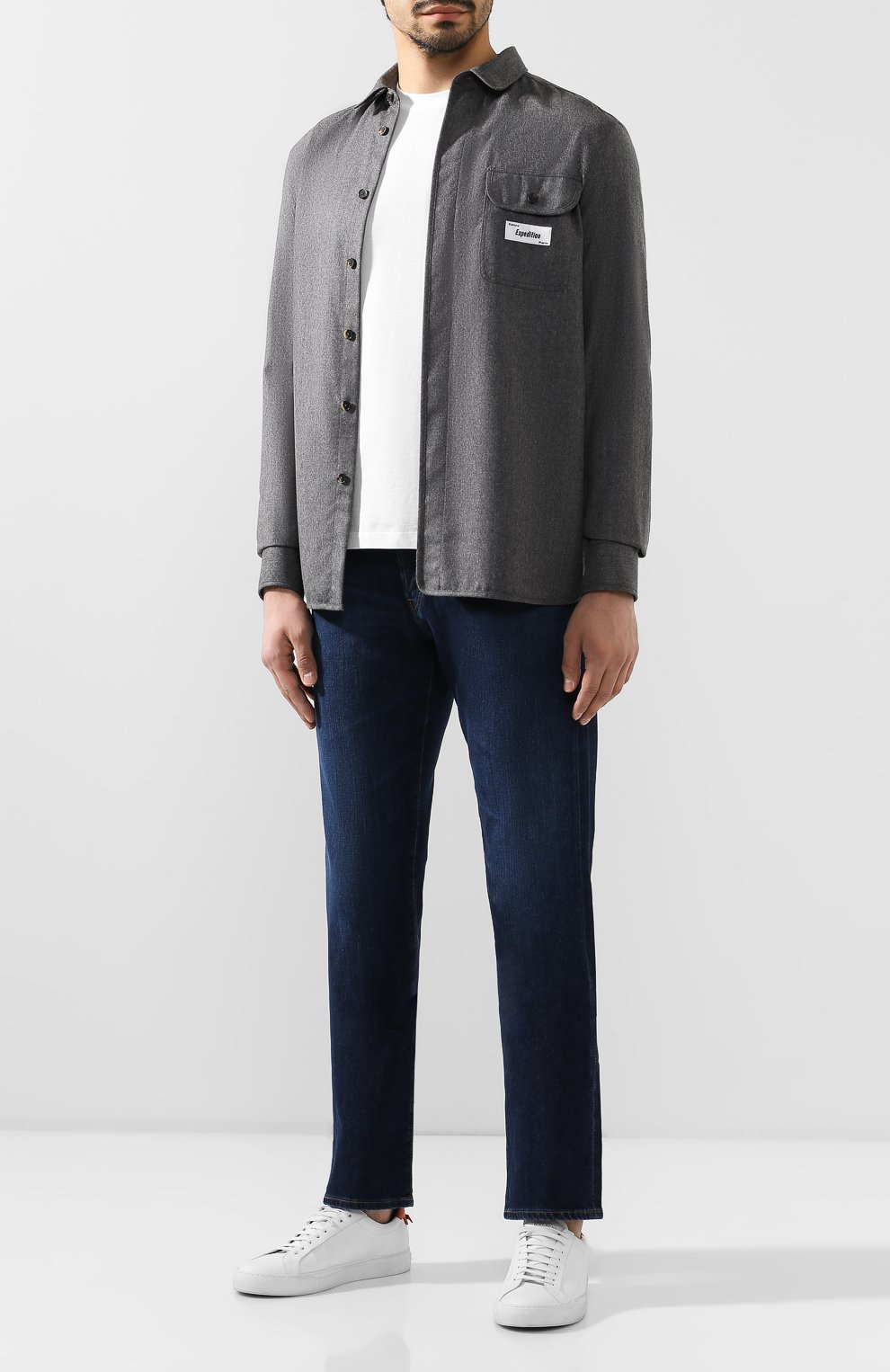 Мужская шерстяная рубашка KENZO серого цвета, арт. F965CH8481RE | Фото 2