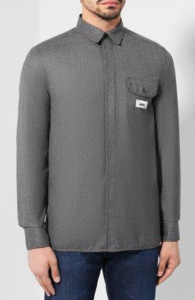 Мужская шерстяная рубашка KENZO серого цвета, арт. F965CH8481RE | Фото 3