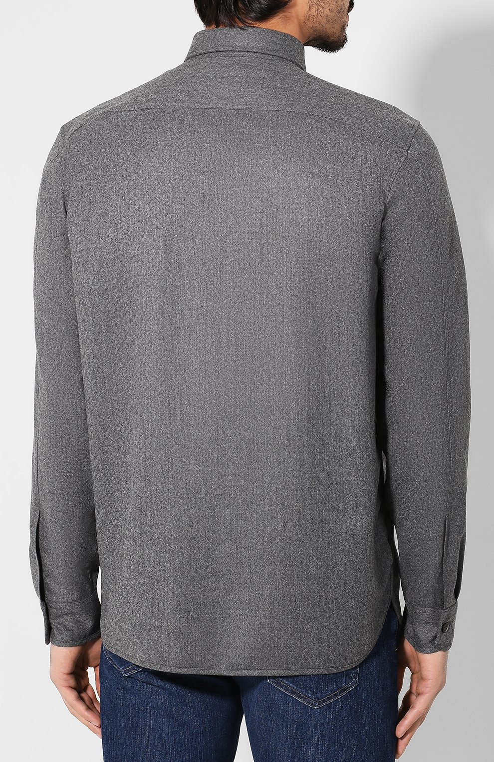 Мужская шерстяная рубашка KENZO серого цвета, арт. F965CH8481RE | Фото 4