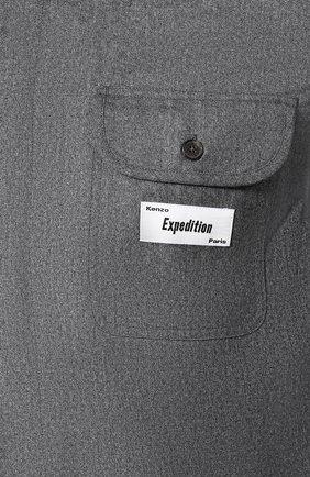 Мужская шерстяная рубашка KENZO серого цвета, арт. F965CH8481RE | Фото 5