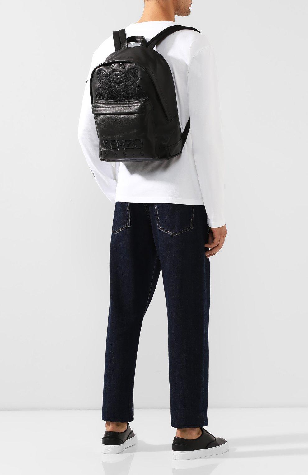 Мужской кожаный рюкзак KENZO черного цвета, арт. F865SF300L49   Фото 2