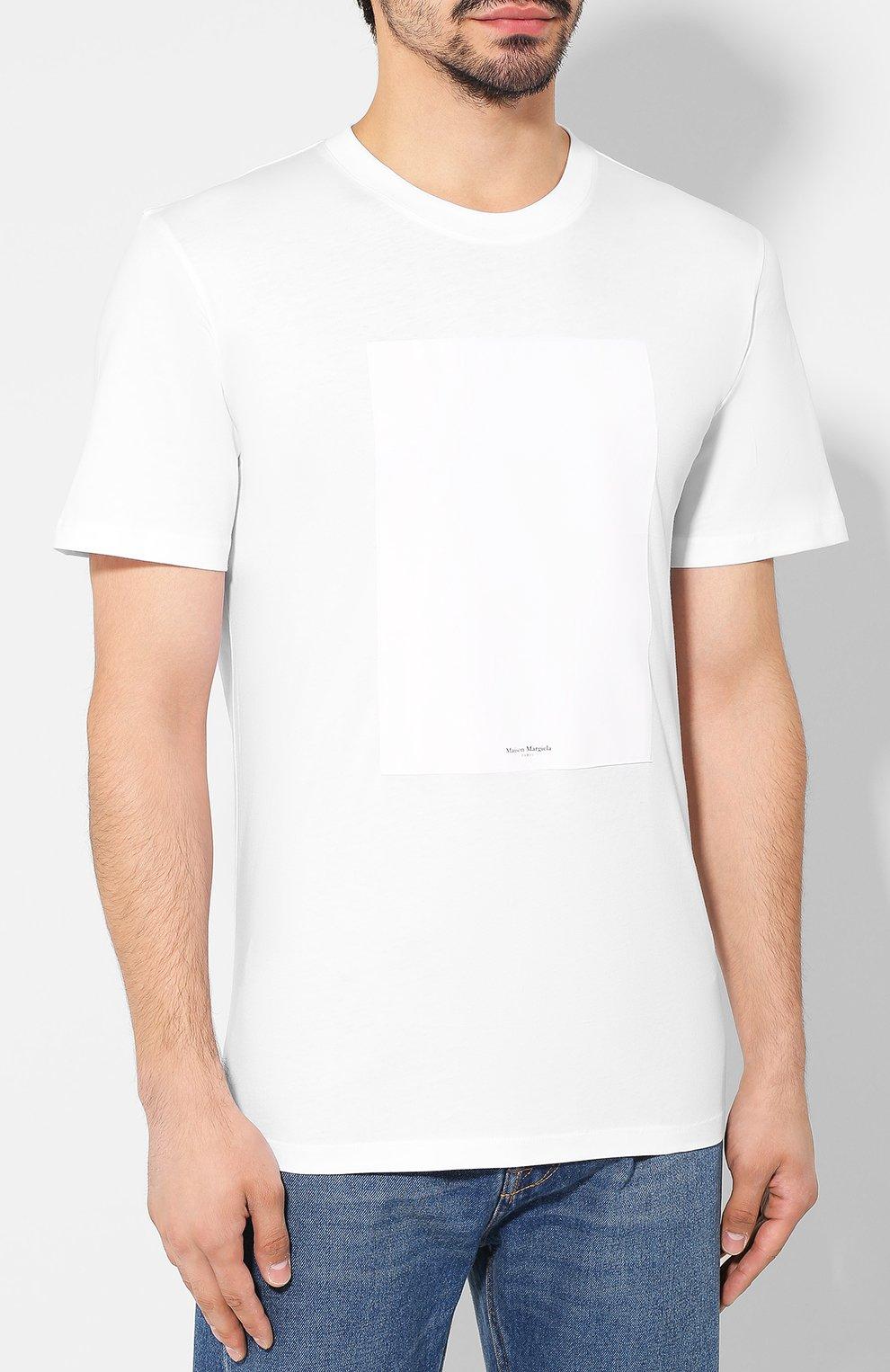 Мужская хлопковая футболка MAISON MARGIELA белого цвета, арт. S50GC0560/S23182   Фото 3