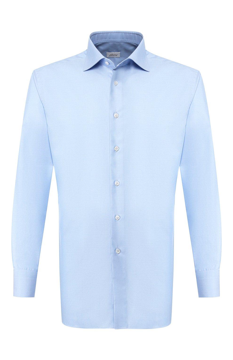 Мужская хлопковая сорочка BRIONI голубого цвета, арт. RCLU2R/PZ023   Фото 1
