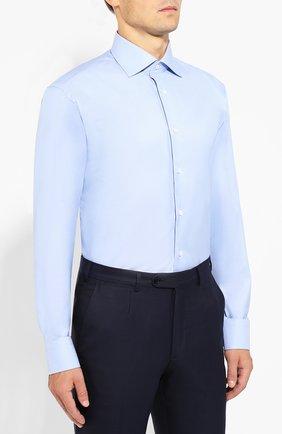Мужская хлопковая сорочка BRIONI голубого цвета, арт. RCLU2R/PZ023   Фото 3