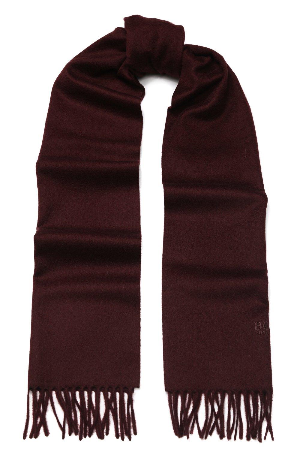 Мужской кашемировый шарф BOSS бордового цвета, арт. 50415017 | Фото 1