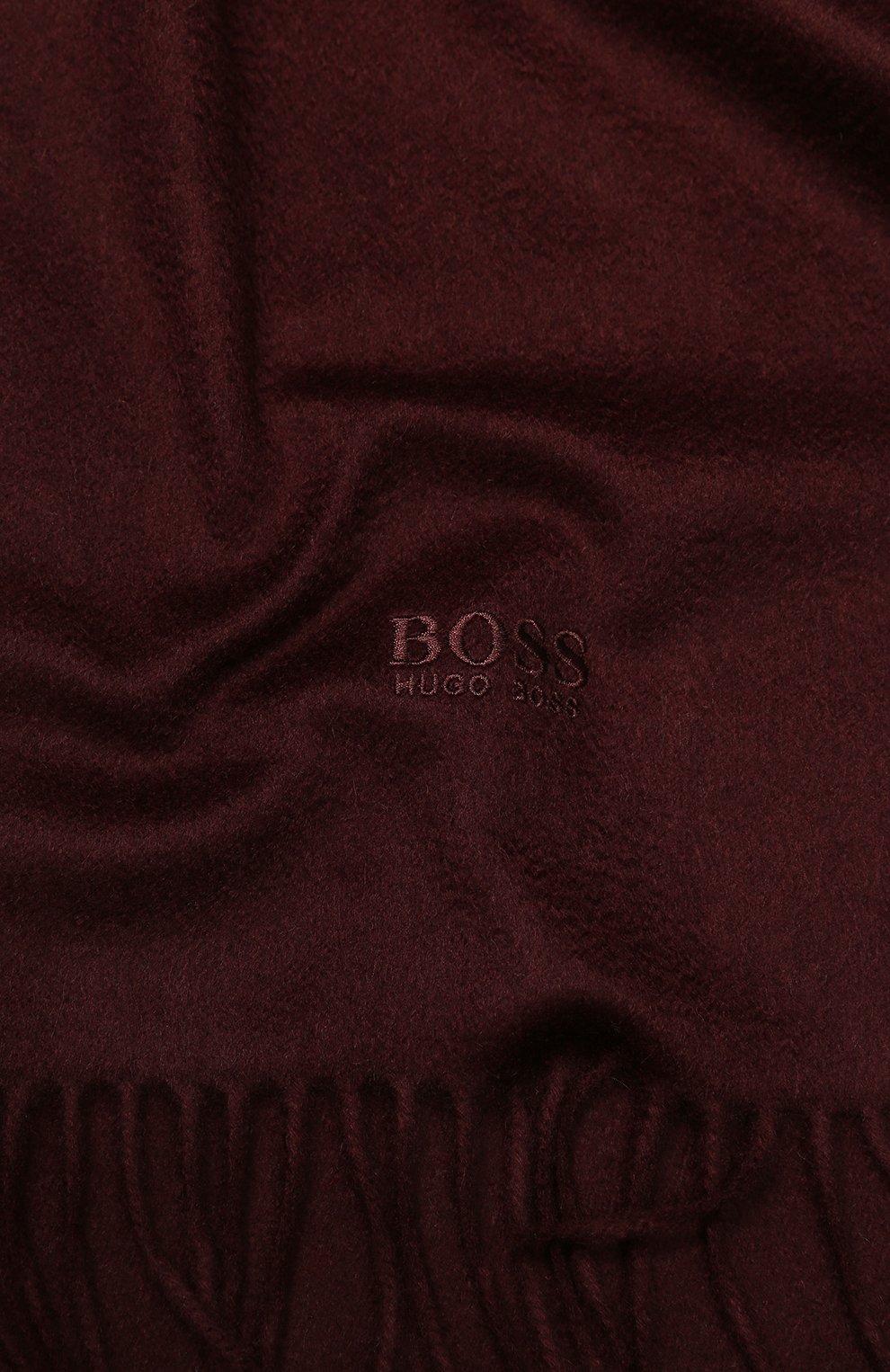 Мужской кашемировый шарф BOSS бордового цвета, арт. 50415017 | Фото 2