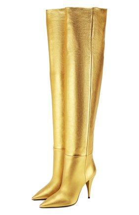 Женские кожаные ботфорты kiki SAINT LAURENT золотого цвета, арт. 580171/06S00 | Фото 1