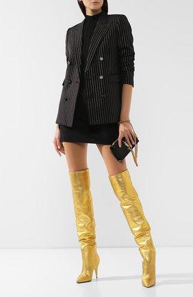 Женские кожаные ботфорты kiki SAINT LAURENT золотого цвета, арт. 580171/06S00 | Фото 2
