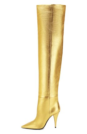 Женские кожаные ботфорты kiki SAINT LAURENT золотого цвета, арт. 580171/06S00 | Фото 3