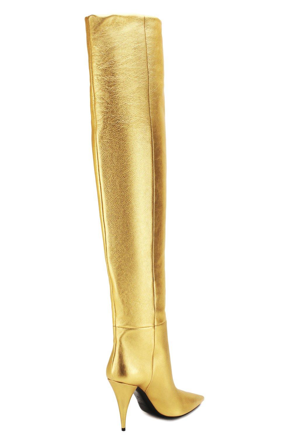 Женские кожаные ботфорты kiki SAINT LAURENT золотого цвета, арт. 580171/06S00 | Фото 4