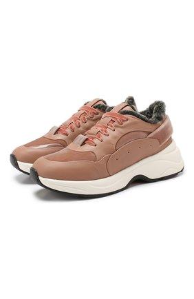 Женские кожаные кроссовки SANTONI светло-розового цвета, арт. WBB060569PAEPNVSP50 | Фото 1