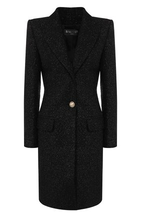 Женское шерстяное пальто BALMAIN черного цвета, арт. SF18539/W038 | Фото 1