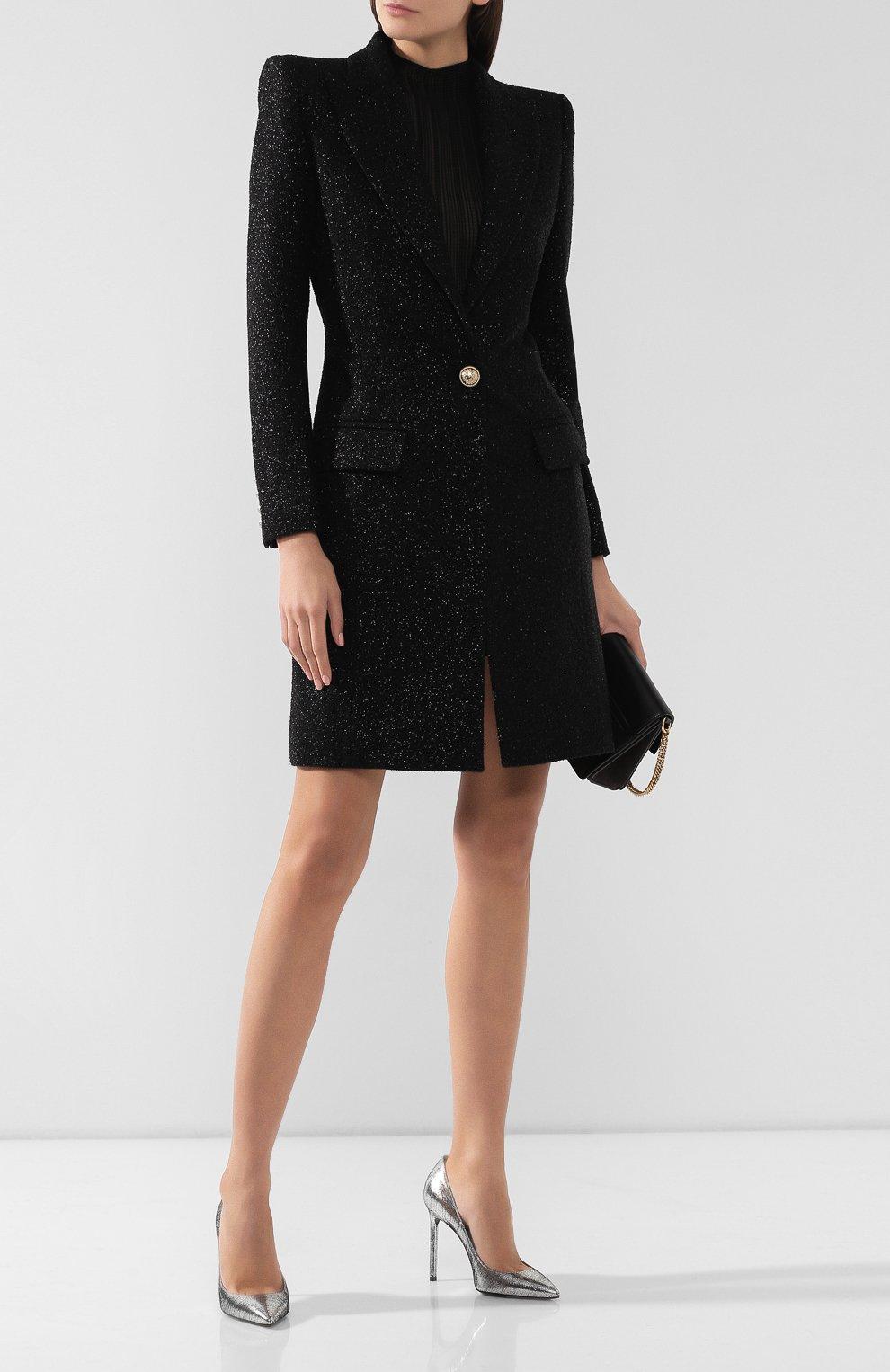 Женское шерстяное пальто BALMAIN черного цвета, арт. SF18539/W038 | Фото 2