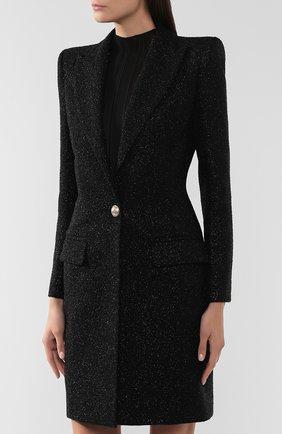 Женское шерстяное пальто BALMAIN черного цвета, арт. SF18539/W038 | Фото 3