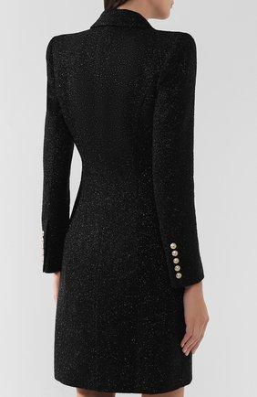 Женское шерстяное пальто BALMAIN черного цвета, арт. SF18539/W038 | Фото 4