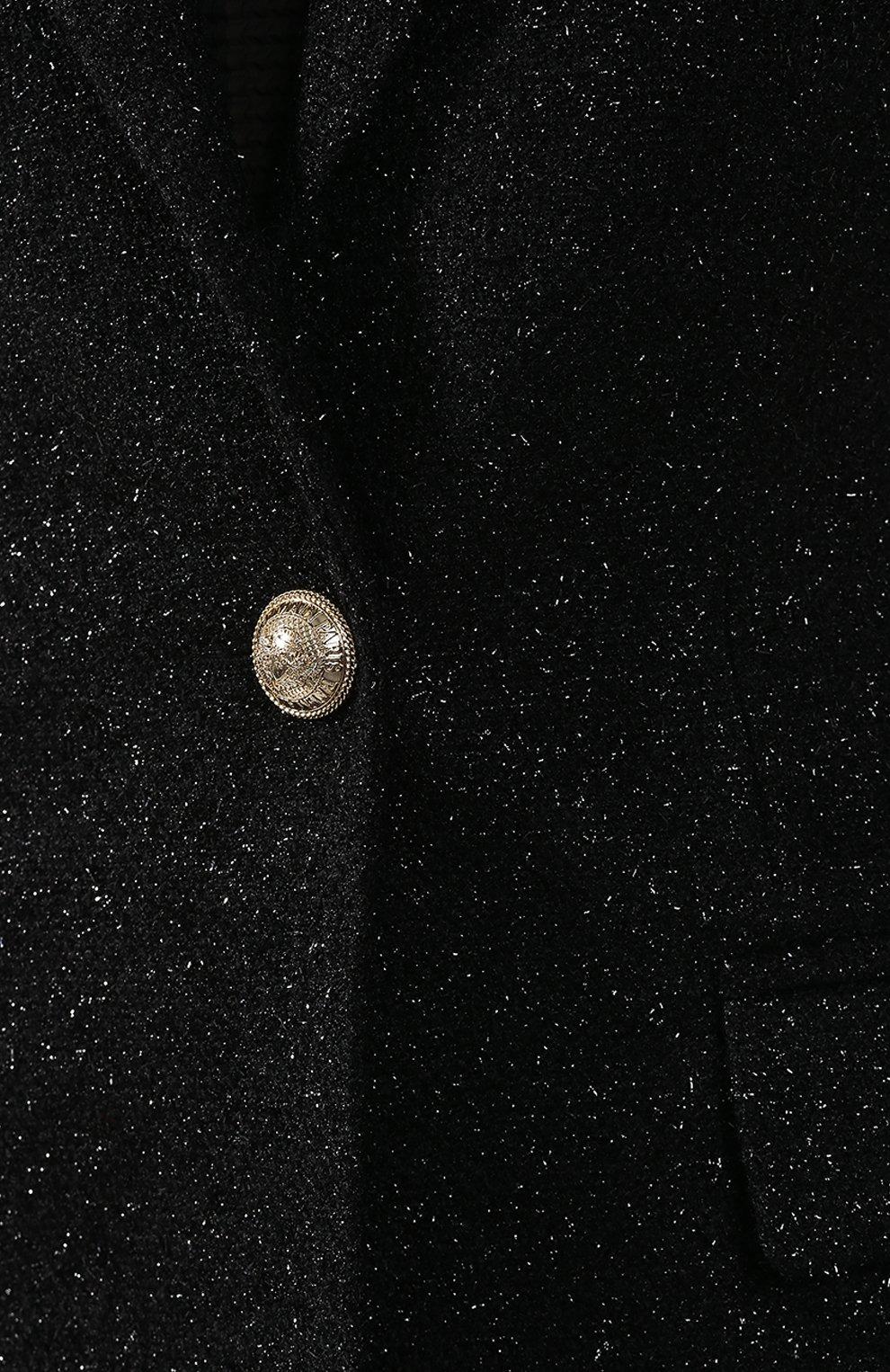 Женское шерстяное пальто BALMAIN черного цвета, арт. SF18539/W038 | Фото 5