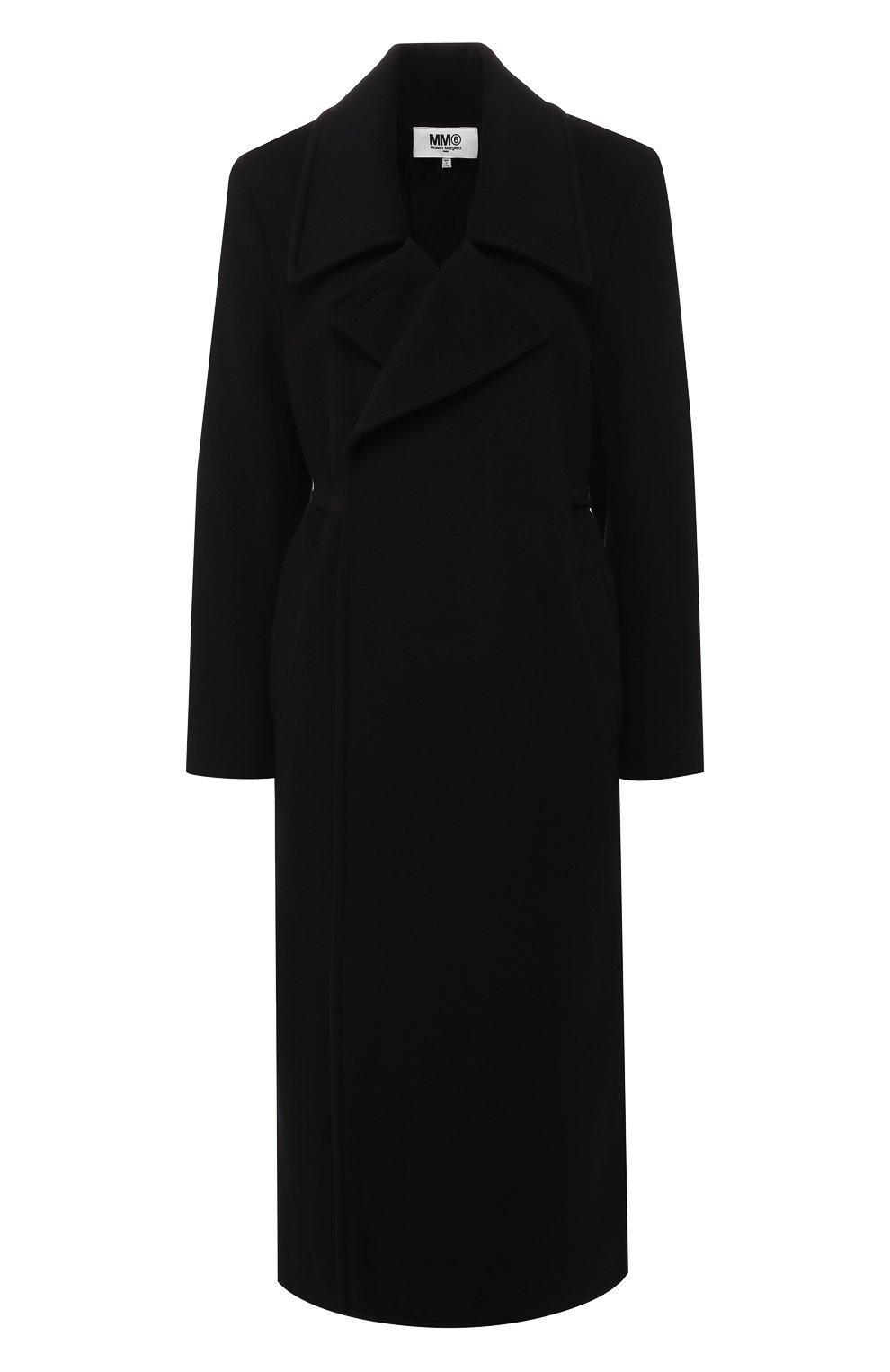 Женское шерстяное пальто MM6 черного цвета, арт. S52AA0069/S47852   Фото 1