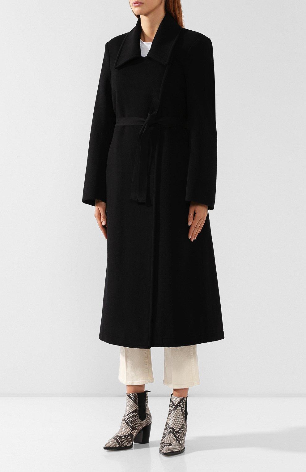 Женское шерстяное пальто MM6 черного цвета, арт. S52AA0069/S47852   Фото 3