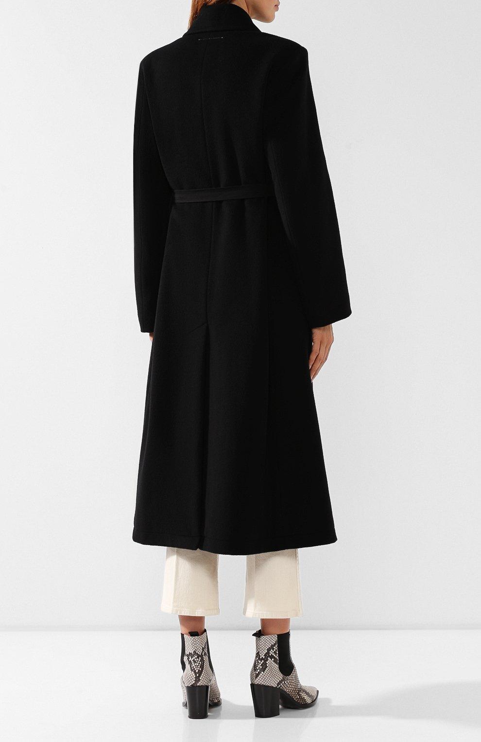 Женское шерстяное пальто MM6 черного цвета, арт. S52AA0069/S47852   Фото 4