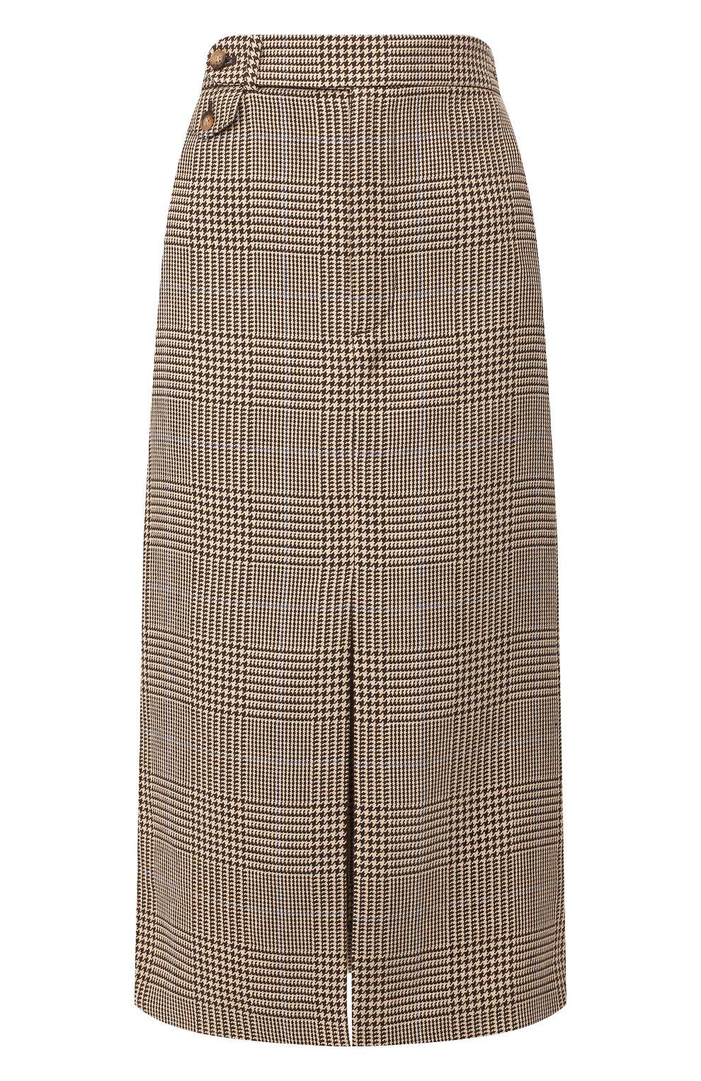 Женская юбка из смеси хлопка и льна POLO RALPH LAUREN коричневого цвета, арт. 211753186 | Фото 1