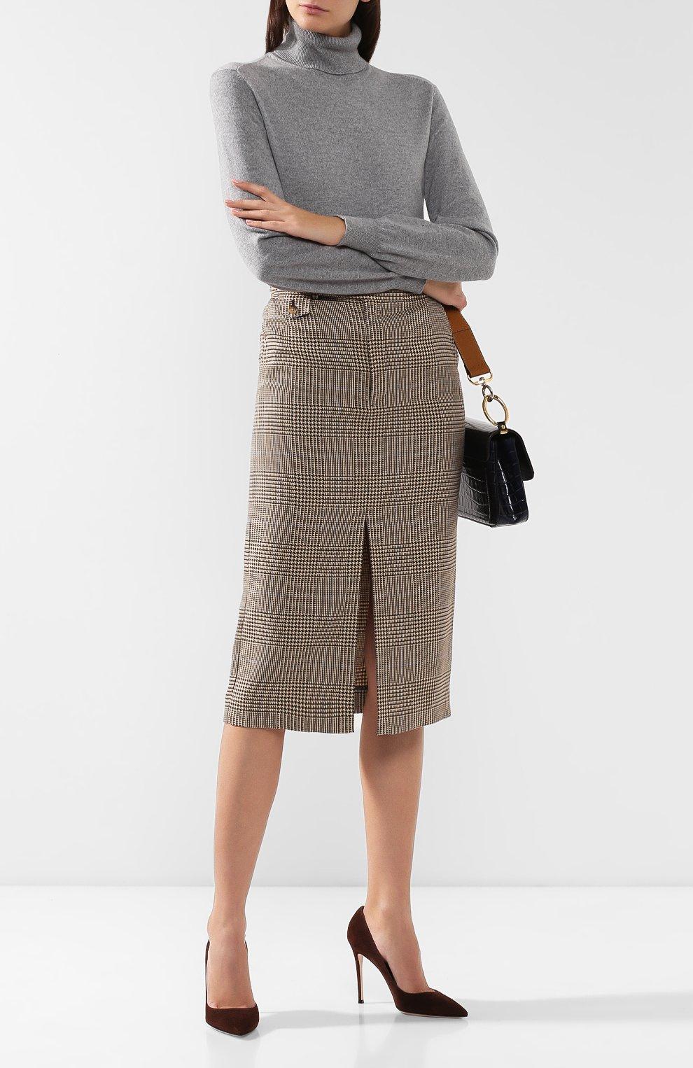Женская юбка из смеси хлопка и льна POLO RALPH LAUREN коричневого цвета, арт. 211753186 | Фото 2