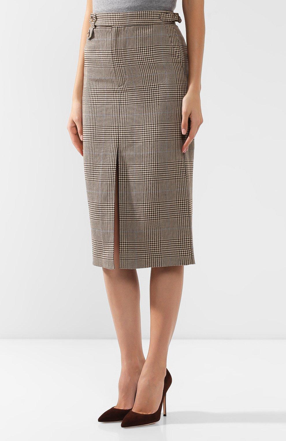 Женская юбка из смеси хлопка и льна POLO RALPH LAUREN коричневого цвета, арт. 211753186 | Фото 3