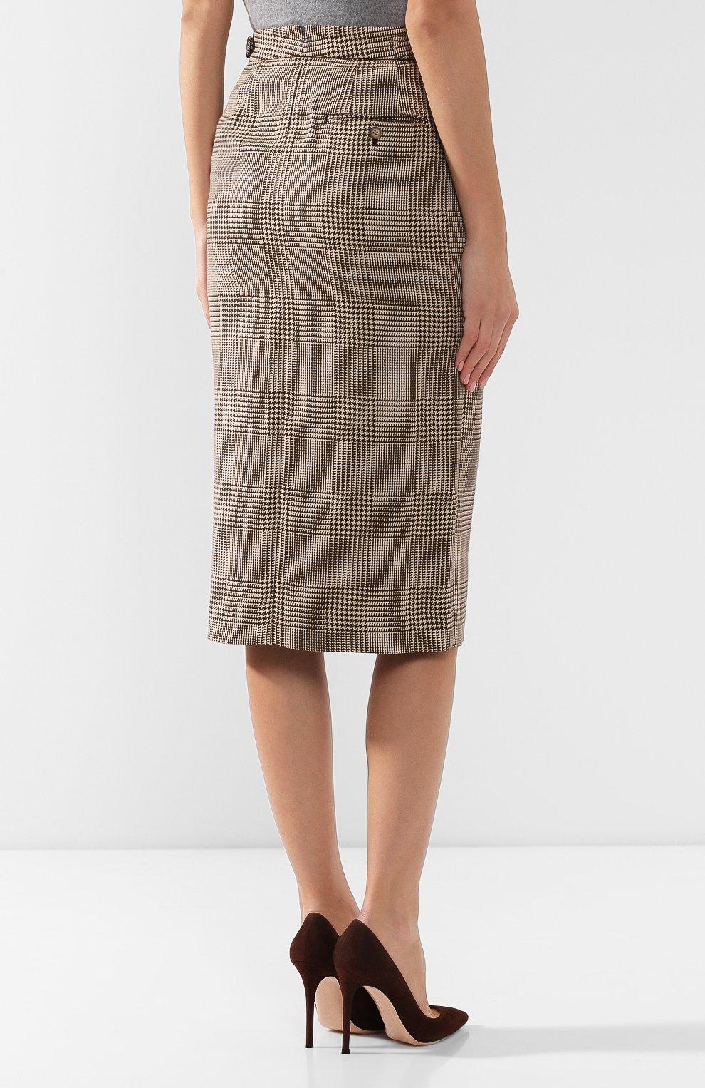 Женская юбка из смеси хлопка и льна POLO RALPH LAUREN коричневого цвета, арт. 211753186 | Фото 4