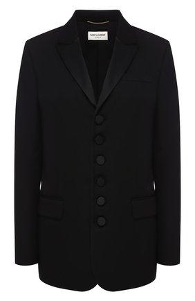Женский шерстяной жакет SAINT LAURENT черного цвета, арт. 587582/Y512W | Фото 1
