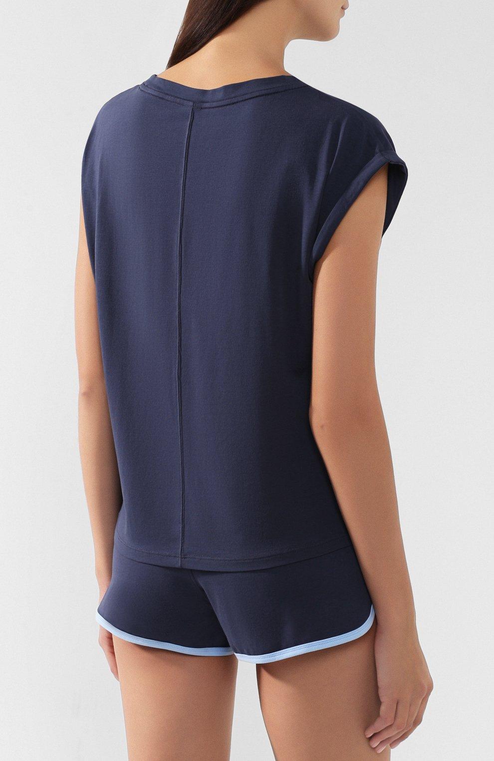 Женская хлопковая пижама CALVIN KLEIN синего цвета, арт. QS6193E | Фото 3