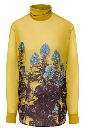 Женская блузка с принтом DRIES VAN NOTEN желтого цвета, арт. 192-30759-8409 | Фото 1