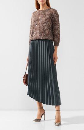 Женская юбка в складку BRUNELLO CUCINELLI бирюзового цвета, арт. MA129G2872   Фото 2