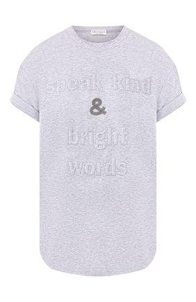 Женская хлопковая футболка BRUNELLO CUCINELLI светло-серого цвета, арт. M0T18BG400 | Фото 1