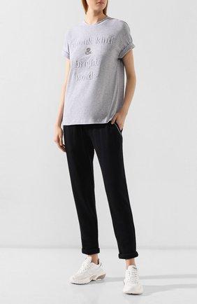 Женская хлопковая футболка BRUNELLO CUCINELLI светло-серого цвета, арт. M0T18BG400 | Фото 2