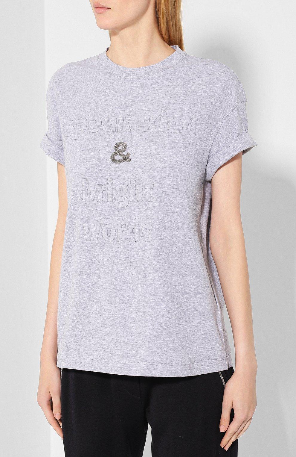 Женская хлопковая футболка BRUNELLO CUCINELLI светло-серого цвета, арт. M0T18BG400 | Фото 3