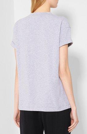 Женская хлопковая футболка BRUNELLO CUCINELLI светло-серого цвета, арт. M0T18BG400 | Фото 4